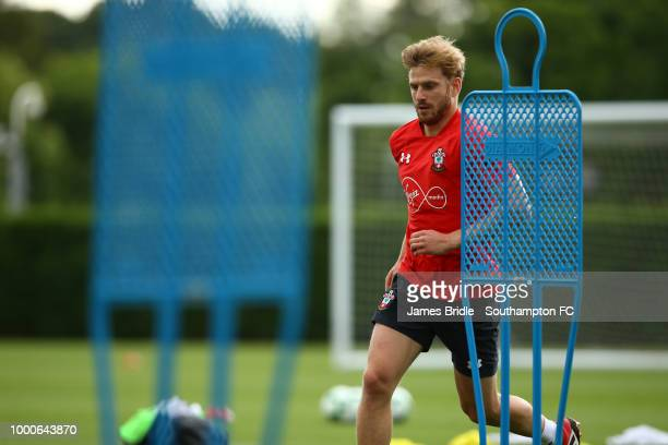 Stuart Armstrong during a Southampton FC training session at Staplewood Complex on July 17 2018 in Southampton England