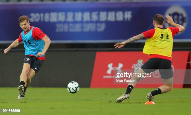 Stuart Armstrong during a Southampton FC training session while on their pre season tour of China on July 9 2018 in Xuzhou China