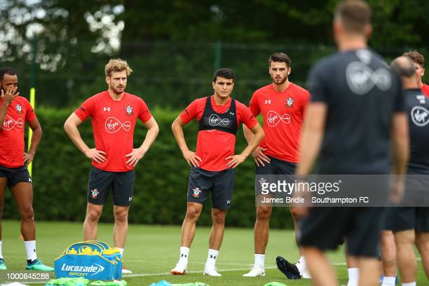 Stuart Armstrong Mohamed Elyounoussi and Wesley Hoedt during a Southampton FC training session at Staplewood Complex on July 17 2018 in Southampton...