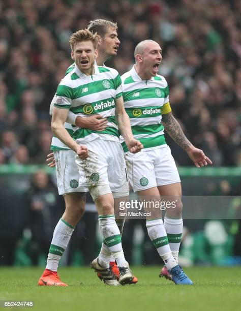 Stuart Armstrong of Celtic celebrates after he scores during the Ladbrokes Scottish Premiership match between Celtic and Rangers at Celtic Park on...
