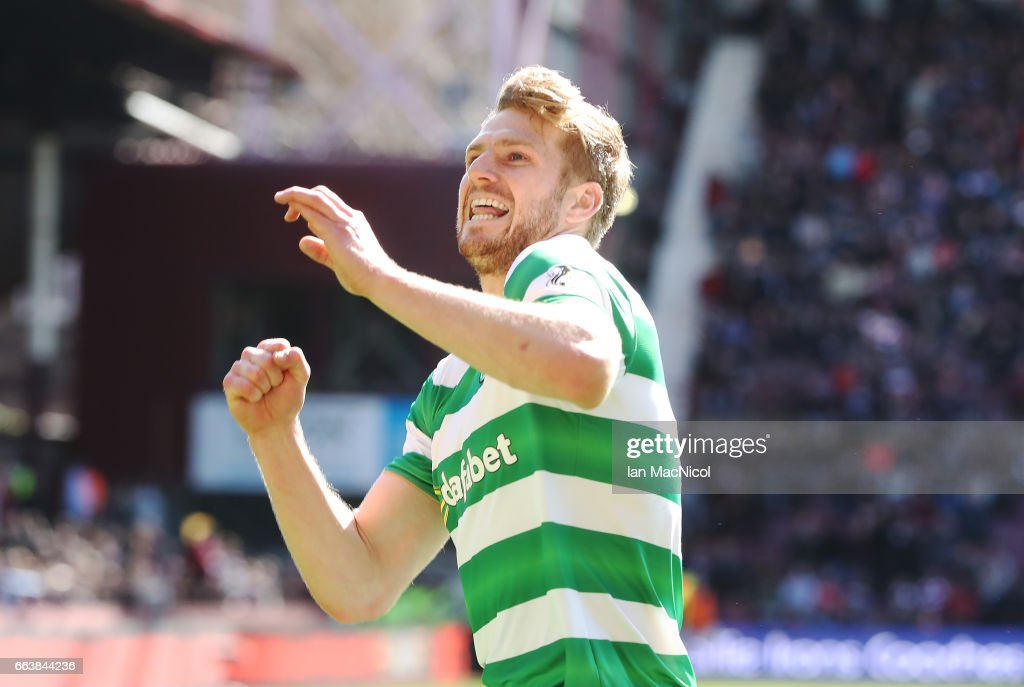 Stuart Armstrong of Celtic celebrates after he scores his team's third goal during the Ladbrokes Premiership match between Hearts and Celtic at Tynecastle Stadium on April 2, 2017 in Edinburgh, Scotland.