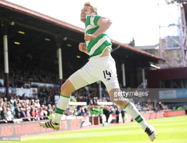 Stuart Armstrong of Celtic celebrates scoring his sides third goal during the Ladbrokes Scottish Premiership match between Hearts and Celtic at...