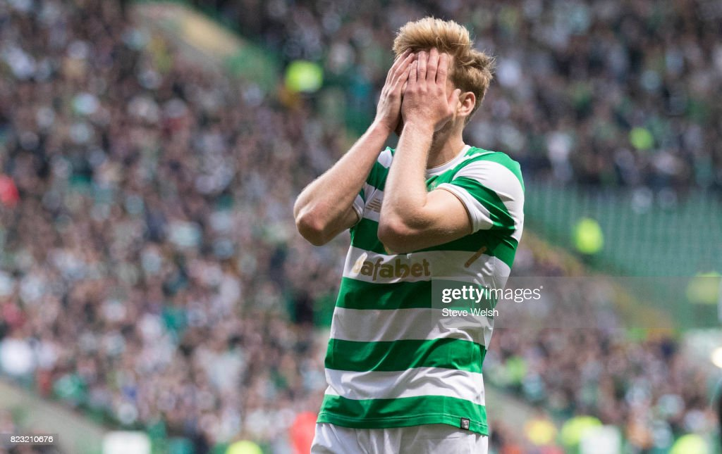 Stuart Armstrong of Celtic holds his head as another Celtic Chance is missed during the UEFA Champions League Qualifying Third Round,First Leg match between Celtic and Rosenborg at Celtic Park Stadium on July 26, 2017 in Glasgow, Scotland.