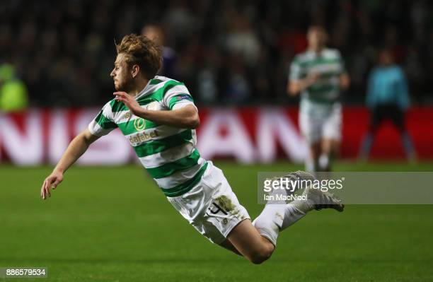 Stuart Armstrong of Celtic is brought down during the UEFA Champions League group B match between Celtic FC and RSC Anderlecht at Celtic Park on...
