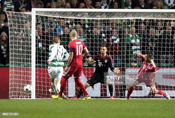 Stuart Armstrong of Celtic misses a fine chance to put Celtic in front against Bayern Muenchen during the Champions League group B match between...