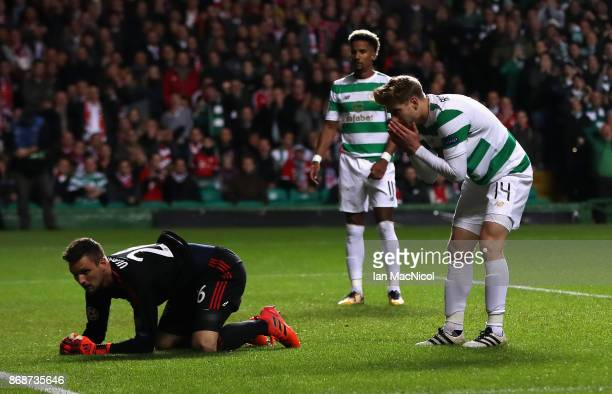 Stuart Armstrong of Celtic reacts following a missed chance during the UEFA Champions League group B match between Celtic FC and Bayern Muenchen at...