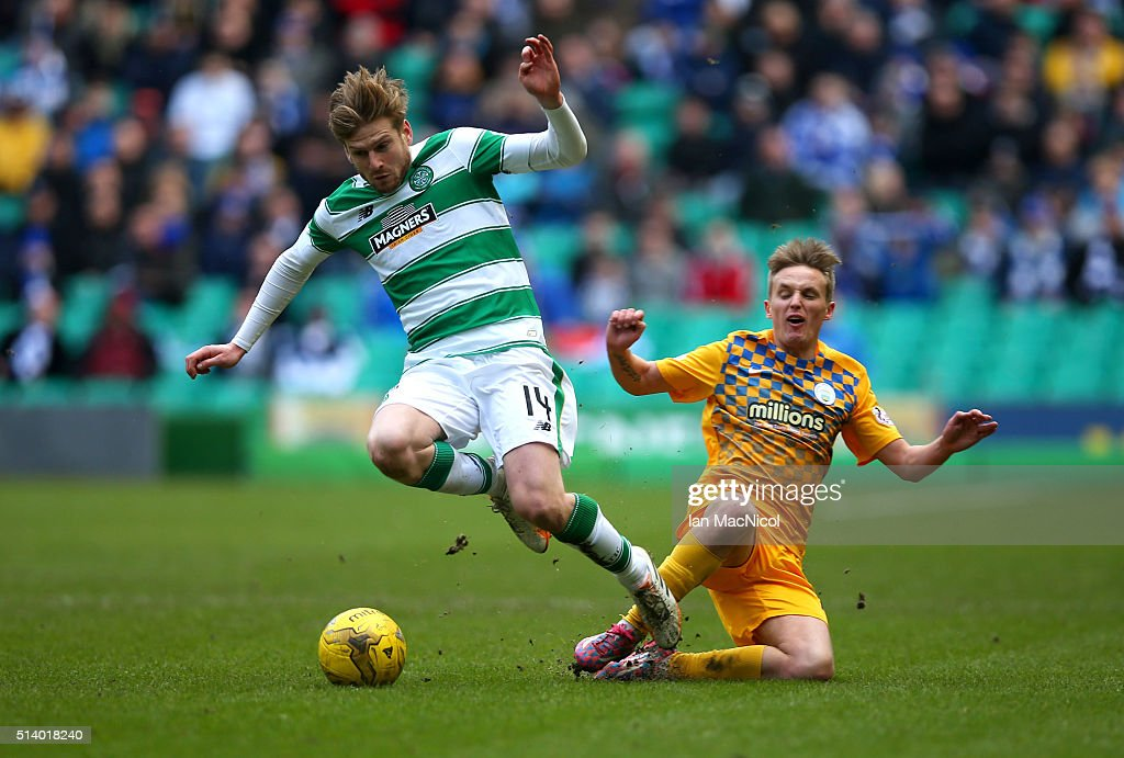 Stuart Armstrong of Celtic vies with Bobby Barr of Greenock Morton during the William Hill Scottish Cup Quarter Final match between Celtic and Greenock Morton at Celtic Park Stadium on March 6, 2016 in Glasgow, Scotland.