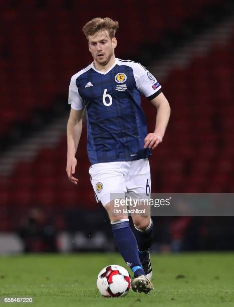 Stuart Armstrong of Scotland is seen during the FIFA 2018 World Cup Qualifier between Scotland and Slovenia at Hampden Park on March 26 2017 in...