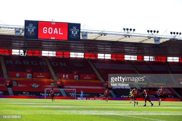 Stuart Armstrong of Southampton after scoring during the Premier League match between Southampton and Burnley at St Mary's Stadium on April 04, 2021...
