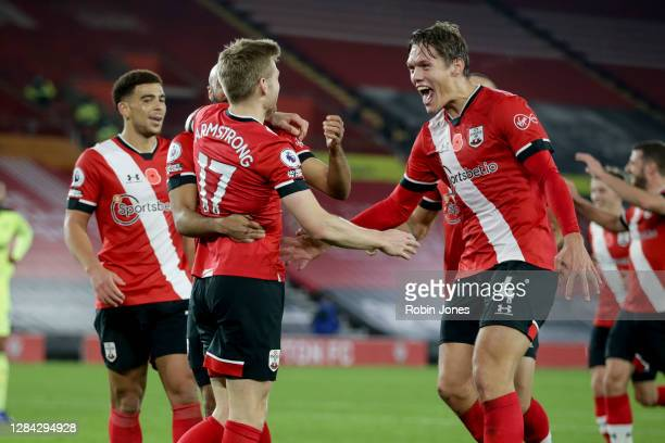 Stuart Armstrong of Southampton celebrates after he scores a goal to make it 2-0 during the Premier League match between Southampton and Newcastle...