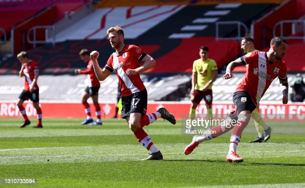 Stuart Armstrong of Southampton celebrates after scoring during the Premier League match between Southampton and Burnley at St Mary's Stadium on...