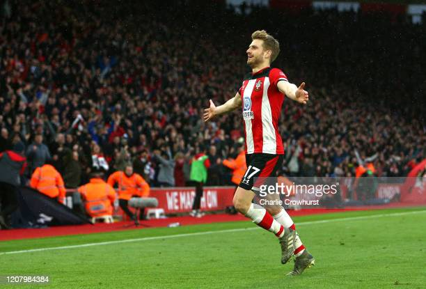 Stuart Armstrong of Southampton celebrates after scoring his team's second goal during the Premier League match between Southampton FC and Aston...