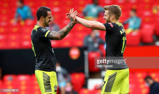Stuart Armstrong of Southampton celebrates with Danny Ings after scoring during the Premier League match between Manchester United and Southampton FC...