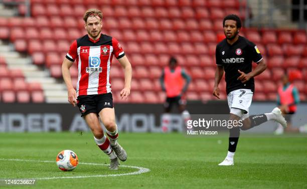 Stuart Armstrong of Southampton during a friendly match between Southampton FC and Bristol City ahead of the Premier League restart at St Mary's...
