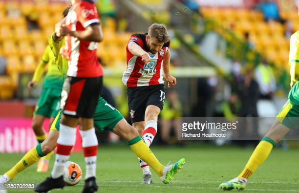 Stuart Armstrong of Southampton scores his team's second goal during the Premier League match between Norwich City and Southampton FC at Carrow Road...