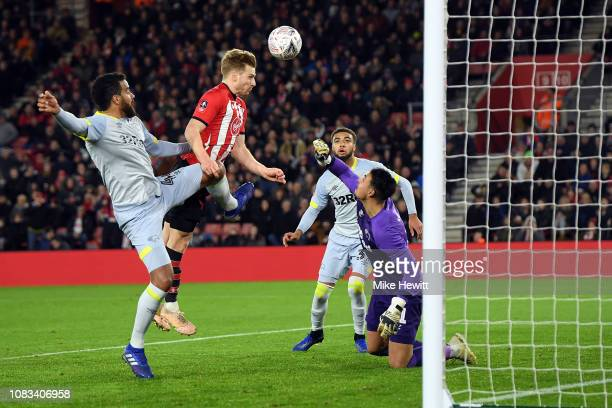 Stuart Armstrong of Southampton scores the opening goal during the FA Cup Third Round Replay match between Southampton FC and Derby County at St...