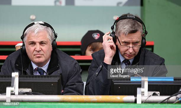 Stuart Barnes and Miles Harrison the Sky TV rugby commentators look on during the Aviva Premiership match between Leicester Tigers and London Wasps...