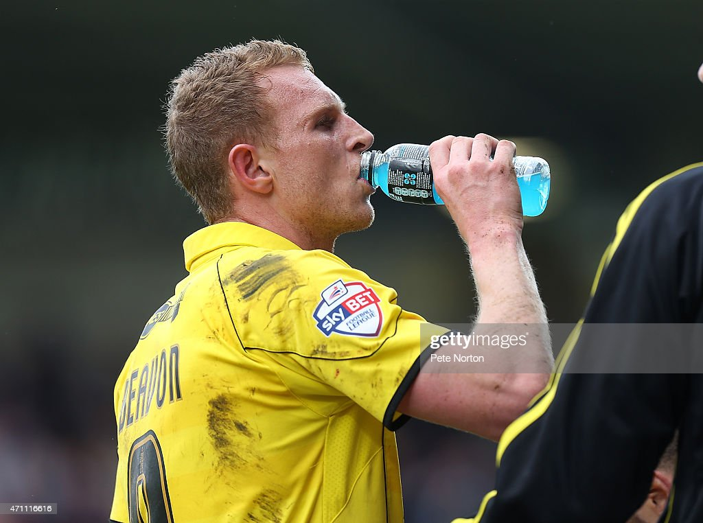 Stuart Beavon of Burton Albion takes a drink during the Sky Bet League Two match between Burton Albion and Northampton Town at Pirelli Stadium on April 25, 2015 in Burton-upon-Trent, England.