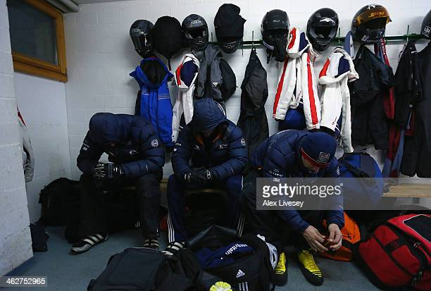 Stuart Benson and Joel Fearon of the Great Britain Bobsleigh Team mentally prepare for heat one of the four man bobsleigh competition as John Jackson...