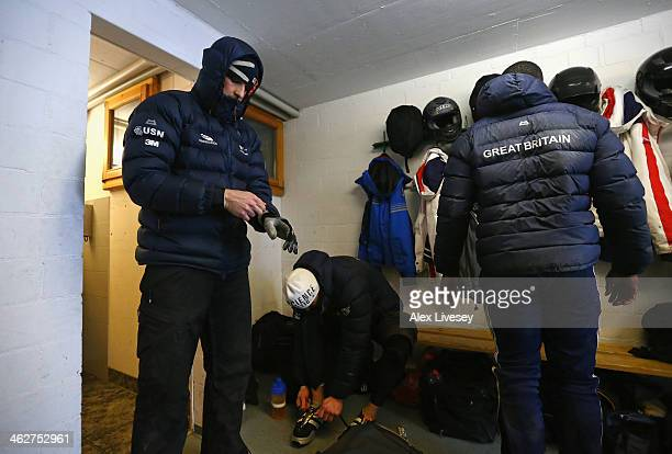 Stuart Benson of the Great Britain Bobsleigh Team prepares for heat one of the four man bobsleigh competition during the Viessmann FIBT Bob Skeleton...