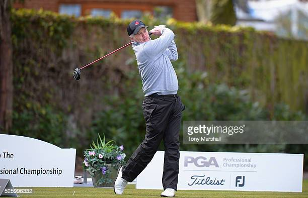 Stuart Betteridge of Sherwood Forest Golf Club plays his first shot on the 1st tee during the PGA Professional Championship Midland Qualifier at...