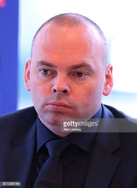 Stuart Bingham faces the media during a press conference ahead of the start of the 2016 Betfred World Snooker Championship at the Crucible Theatre on...