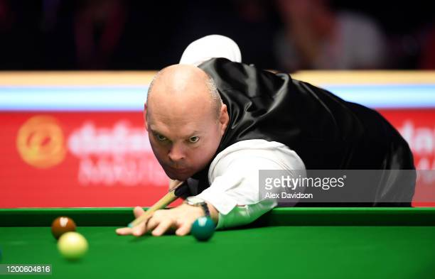 Stuart Bingham in action during the Final of the Dafabet Masters between Stuart Bingham and Ali Carter at Alexandra Palace on January 19, 2020 in...