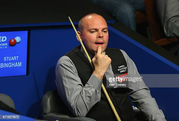 Stuart Bingham looks on during his match against Ronnie O'Sullivan on day twelve of the 2015 Betfred World Snooker Championship at Crucible Theatre...