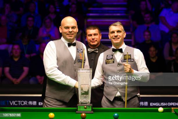 Stuart Bingham of England and Mark Davis of England pose for a photo in the final match on day seven of the 2018 BetVictor English Open at K2 Leisure...