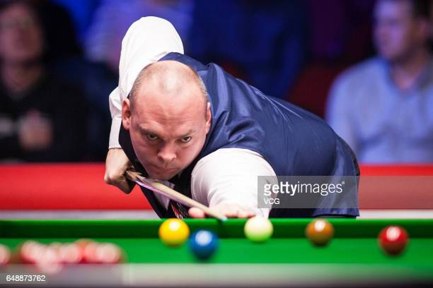 Stuart Bingham of England plays a shot during the first round match against Anthony Hamilton of England on day one of 2017 Ladbrokes Players...