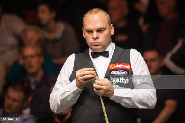 Stuart Bingham of England reacts during his second round match against Fang Xiongman of China on day three of 2017 Dafabet English Open at Barnsley...