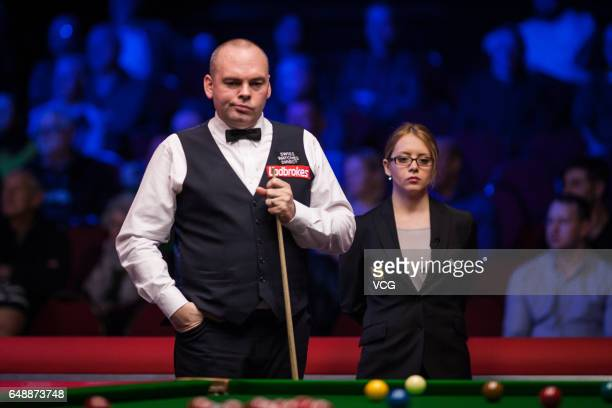Stuart Bingham of England reacts during the first round match against Anthony Hamilton of England on day one of 2017 Ladbrokes Players Championship...