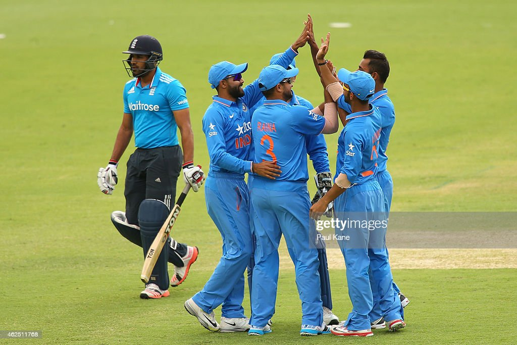 Stuart Binny of India celebrates the dismissal of Ravi Bopara of England with team mates during the One Day International match between England and India at the WACA on January 30, 2015 in Perth, Australia.