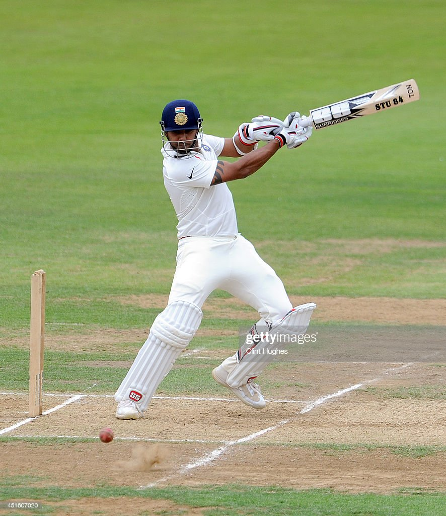 Stuart Binny of India in action during day two of the tour match between Derbyshire and India at The 3aaa County Ground on July 2, 2014 in Derby, England.