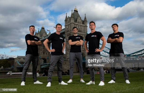 Stuart Bithell Chris Draper Matt Gotrel Dylan Fletcher Richard Mason of Great Britain SailGP pose for a photograph prior to the Global SailGP Launch...