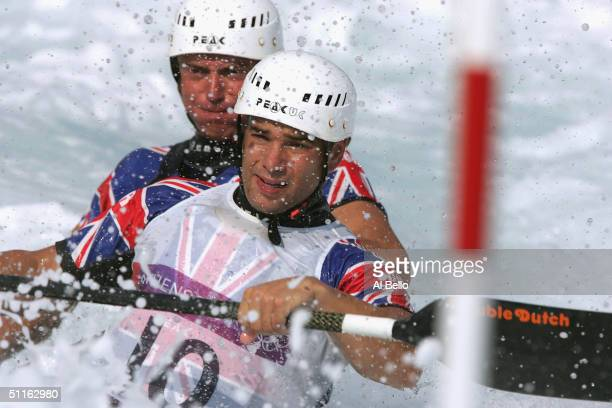 Stuart Bowman and Stuart McIntosh of Great Britain train in the 2 man canoe on August 12 2004 prior to the Athens 2004 Summer Olympic Games at the...