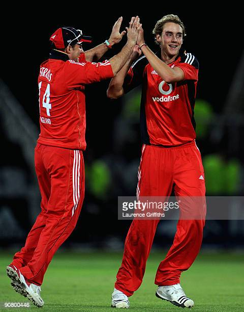 Stuart Broad and Andrew Strauss of England celebrate the wicket of Ricky Ponting of Australia during the 5th NatWest ODI match between England and...