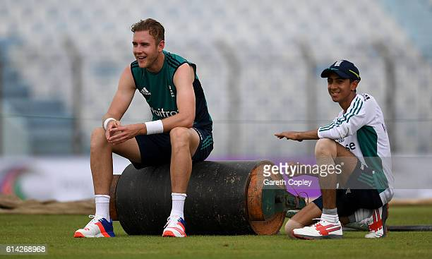 Stuart Broad and Haseeb Hameed of England during a nets session at Zohur Ahmed Chowdhury Stadium on October 13 2016 in Chittagong Bangladesh