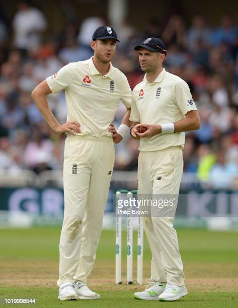 Stuart Broad and James Anderson of England talk during the third day of the 3rd Specsavers Test Match between England and India at Trent Bridge on...