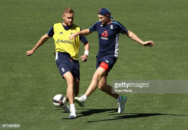 Stuart Broad and Joe Root of England play football during an England Ashes series nets session at Adelaide Oval on November 7 2017 in Adelaide...