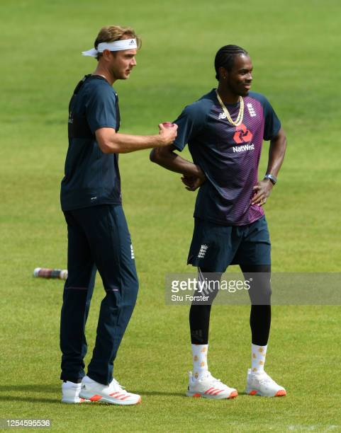Stuart Broad and Jofra Archer of England during a nets session at Ageas Bowl on July 06, 2020 in Southampton, England.