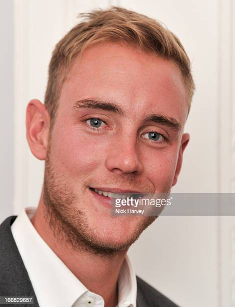 Stuart Broad attends as Molton Brown and Giles Deacon launch a collaboration at the ICA on April 17, 2013 in London, England.