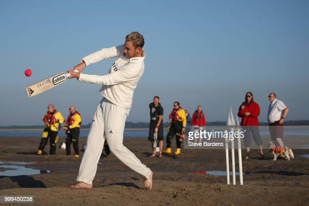 Stuart Broad bats for the Royal Southern Yacht Club against the Island Sailing Club during the Annual Bramble Bank Cricket Match 2018 supported by...