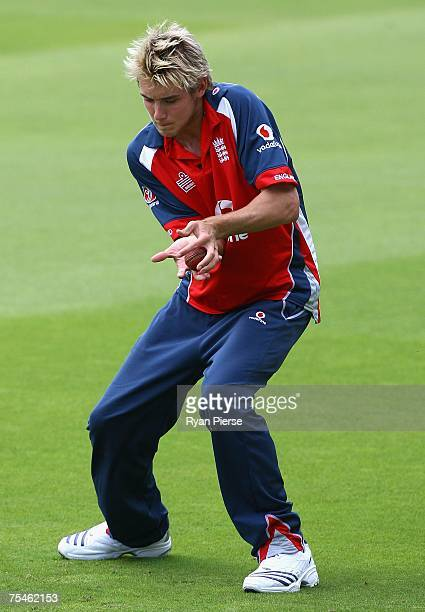 Stuart Broad catches the ball during the England nets session at Lords Cricket Ground on July 18 2007 in London England
