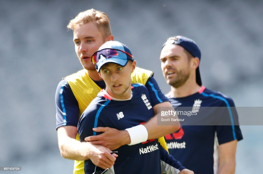 Stuart Broad, Joe Root and James Anderson of England look on during an England nets session at the Melbourne Cricket Ground on December 23, 2017 in Melbourne, Australia.