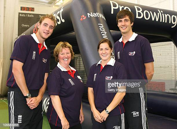 Stuart Broad Katherine Brunt and Steve Finn of England pose with Gillian Bowers during the Natwest Probowling Finals and the chance to bowl at...