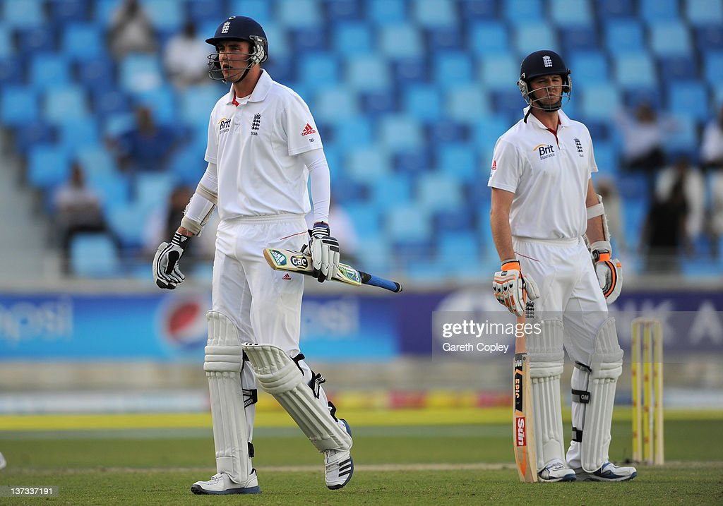 Stuart Broad leaves the field after being dismissed by Abdur Rehman of Pakistan during the first Test match between Pakistan and England at The Dubai International Cricket Stadium on January 19, 2012 in Dubai, United Arab Emirates.