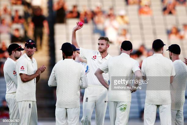 Stuart Broad of England acknowledges the crowd as he claims his 400th test wicket in Tom Latham of New Zealand during day one of the First Test match...