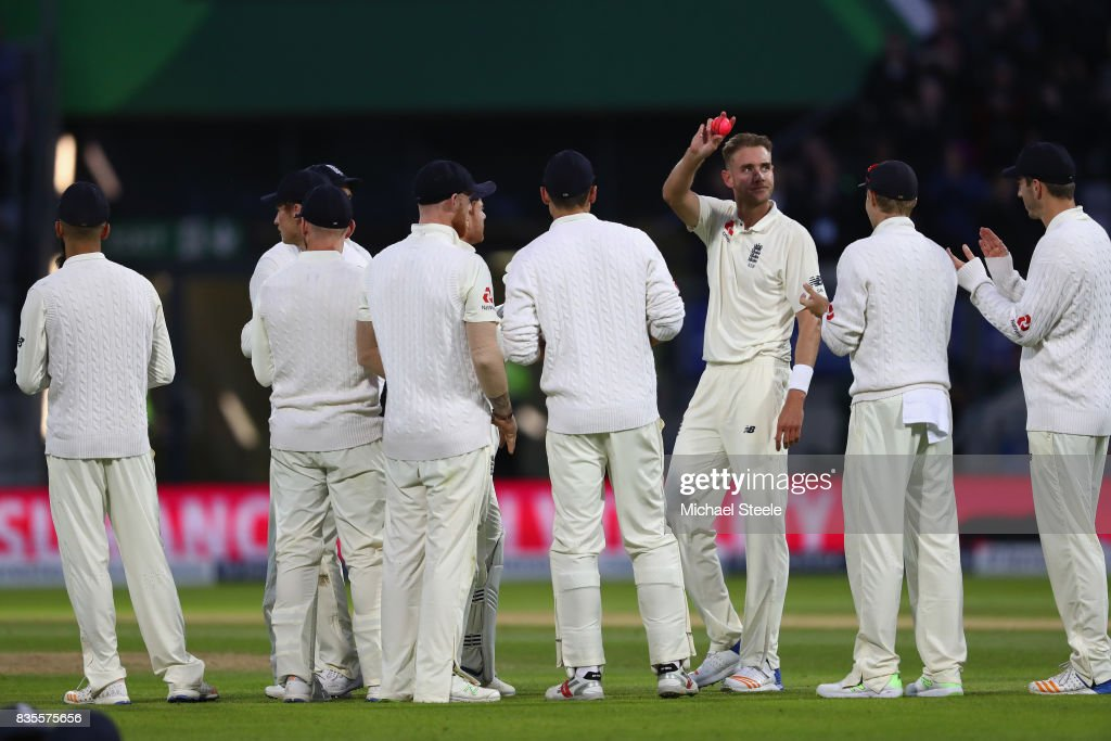 Stuart Broad of England acknowledges the crowds applause after taking the wicket of Shane Dowrich to become England's second highest wicket taker in Tests during day three of the 1st Investec Test match between England and West Indies at Edgbaston on August 19, 2017 in Birmingham, England.