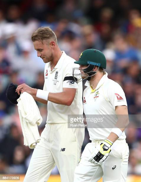 Stuart Broad of England and Steve Smith of Australia exchange words during day one of the Second Test match during the 2017/18 Ashes Series between...